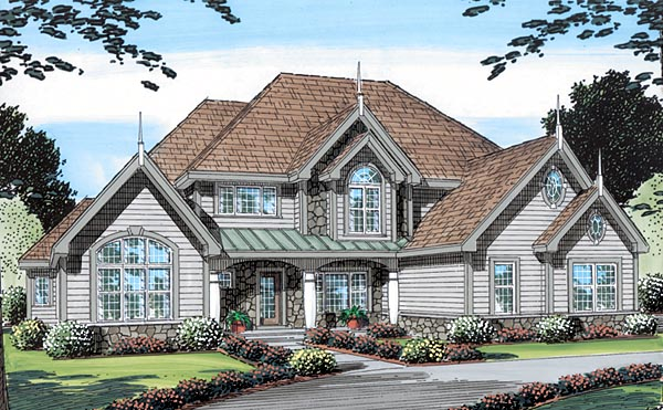 House Plan 24969 | Bungalow European Traditional Victorian Style Plan with 3122 Sq Ft, 4 Bedrooms, 4 Bathrooms, 3 Car Garage Elevation