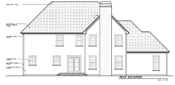 House Plan 24969 | Bungalow European Traditional Victorian Style Plan with 3122 Sq Ft, 4 Bedrooms, 4 Bathrooms, 3 Car Garage Rear Elevation