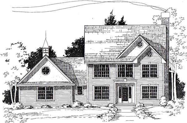 Colonial , Traditional House Plan 24975 with 3 Beds, 3 Baths, 2 Car Garage Elevation