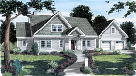 House Plan 24989 | Bungalow Country Traditional Style Plan with 2592 Sq Ft, 3 Bedrooms, 3 Bathrooms, 2 Car Garage Elevation