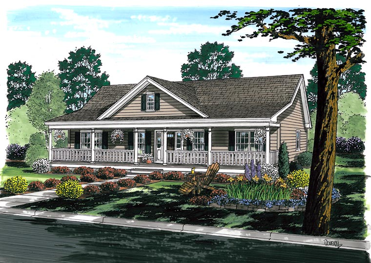 Country, Farmhouse, Ranch, Southern House Plan 25101 with 3 Beds, 2 Baths Elevation