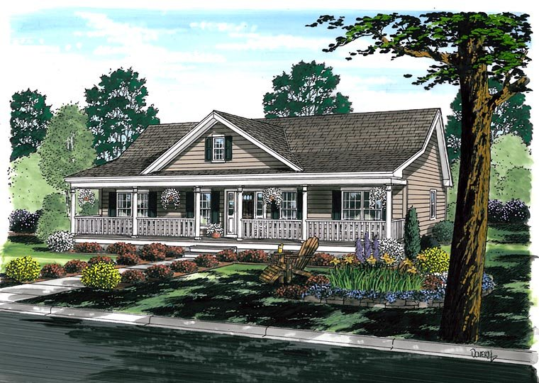 Country, Farmhouse, Ranch, Southern House Plan 25101 with 3 Beds , 2 Baths Elevation