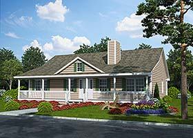 Country Ranch Traditional House Plan 25102 Elevation