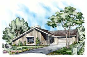 House Plan 26740 | Contemporary Ranch Style Plan with 1512 Sq Ft, 3 Bedrooms, 2 Bathrooms, 2 Car Garage Elevation