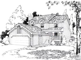 House Plan 26743 | Country Style Plan with 1527 Sq Ft, 3 Bedrooms, 3 Bathrooms, 2 Car Garage Elevation