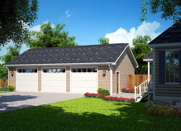 Country Ranch Traditional Garage Plan 30002 Elevation