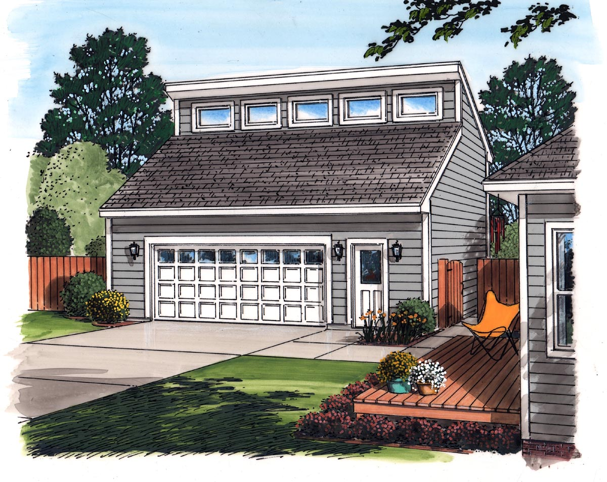 Contemporary 2 Car Garage Plan 30010 Picture 1
