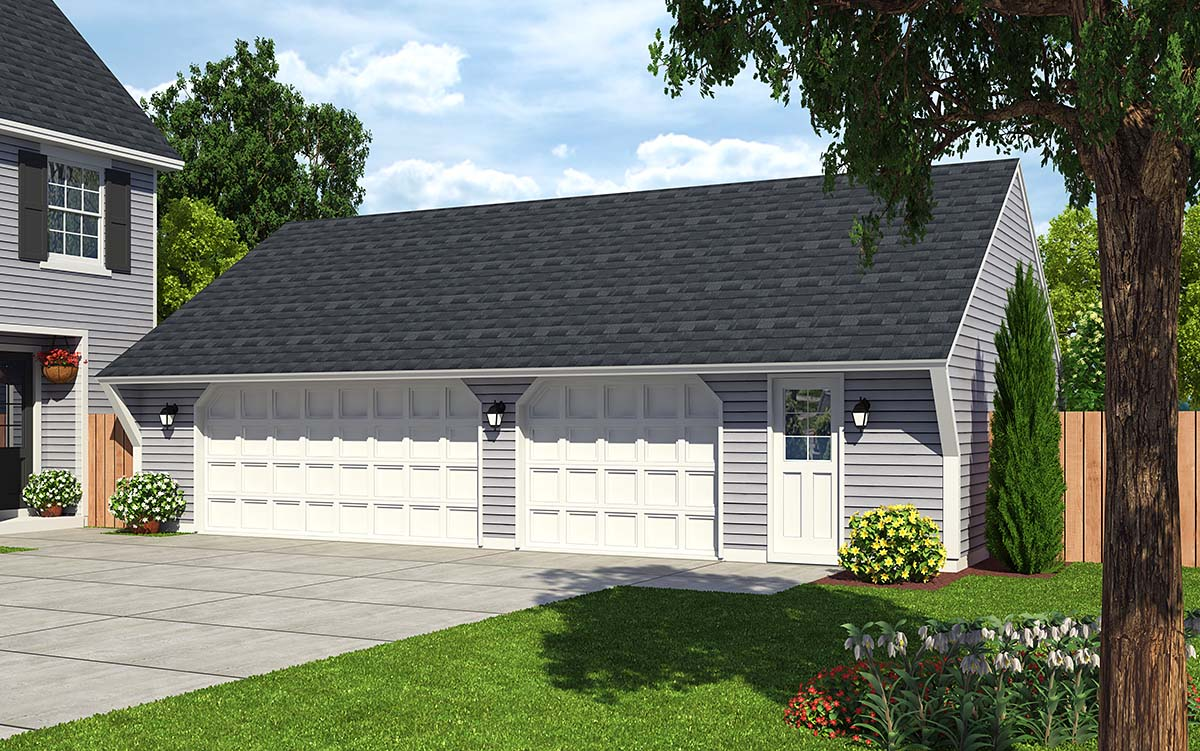 Cape Cod , Saltbox , Traditional 3 Car Garage Plan 30022 Elevation