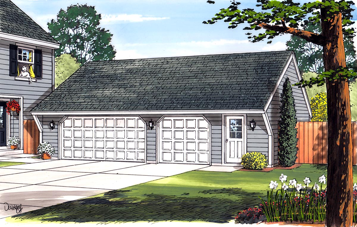 Cape Cod, Saltbox, Traditional 3 Car Garage Plan 30022 Picture 1