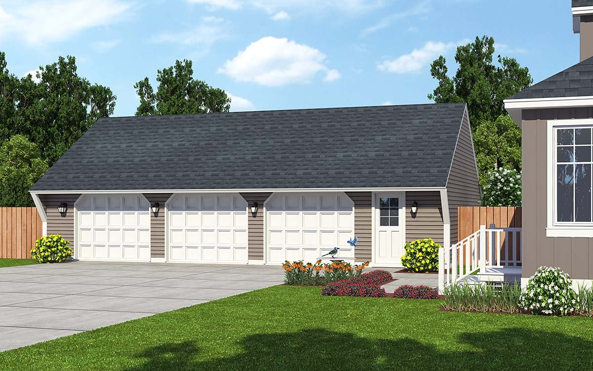 Garage plan 30023 at for Saltbox garage plans
