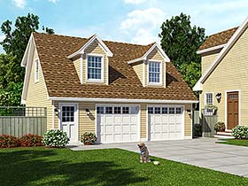 Cape Cod Cottage Country Farmhouse Saltbox Garage Plan 30030 Elevation