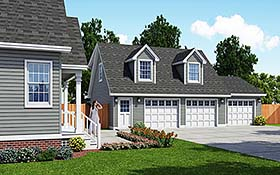 Cape Cod , Country 3 Car Garage Apartment Plan 30031 with 1 Beds, 1 Baths Elevation