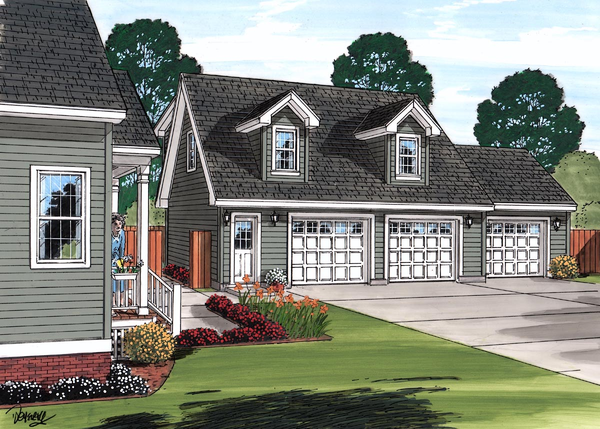 Cape Cod, Country 3 Car Garage Apartment Plan 30031 with 1 Beds, 1 Baths Picture 1
