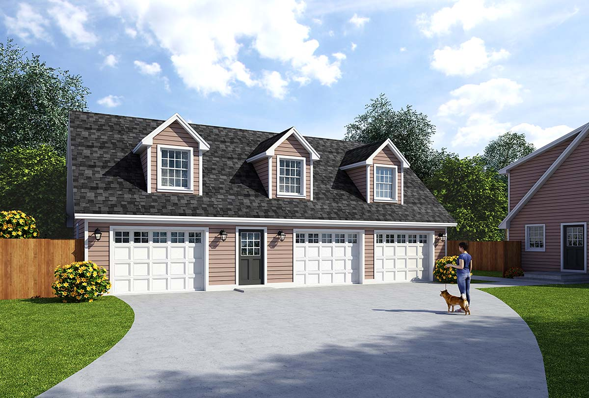 Cape Cod , Cottage , Country , Farmhouse , Saltbox 3 Car Garage Apartment Plan 30032 with 2 Beds, 2 Baths Elevation