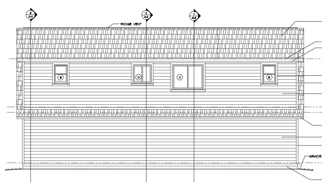 Cape Cod Cottage Country Farmhouse Saltbox Garage Plan 30032 Rear Elevation