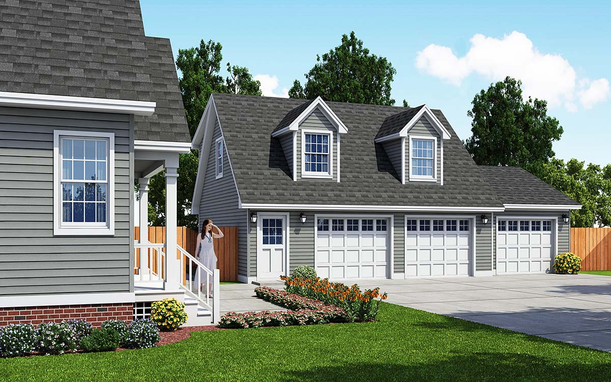 Cape Cod Saltbox Traditional Garage Plan 30033 Elevation