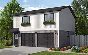 Garage Plan 30040 | Contemporary Ranch Saltbox Style Plan with 746 Sq Ft, 2 Bedrooms, 1 Bathrooms, 2 Car Garage Elevation