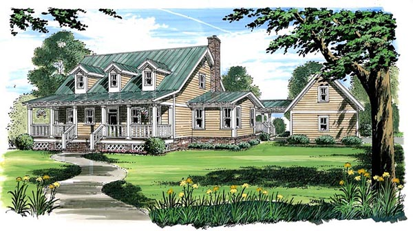 Country, Farmhouse, Traditional House Plan 30500 with 3 Beds, 3 Baths, 2 Car Garage Front Elevation