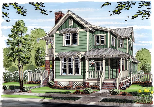 Bungalow, Coastal, Cottage, Country, Farmhouse, Traditional House Plan 30501 with 3 Beds, 3 Baths Front Elevation