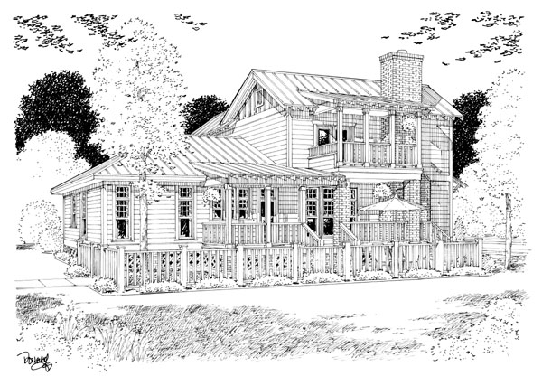 Bungalow Coastal Cottage Country Farmhouse Traditional House Plan 30501 Rear Elevation