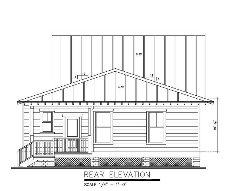 Rear Elevation of Bungalow   Cottage   Country   House Plan 30502
