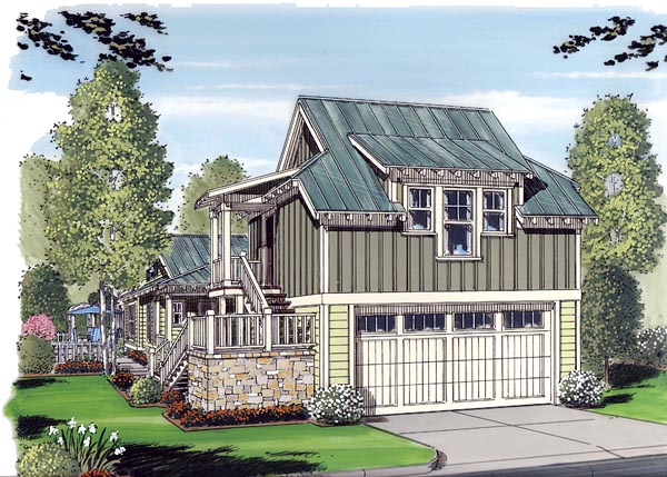 Bungalow, Cottage, Craftsman 2 Car Garage Apartment Plan 30503 with 1 Beds, 1 Baths Elevation