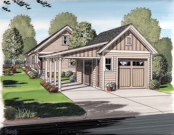 Elevation of Bungalow   Cottage   Craftsman   Garage Plan 30505