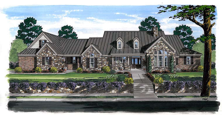 Craftsman, European, Farmhouse, Ranch Plan with 3162 Sq. Ft., 3 Bedrooms, 4 Bathrooms, 3 Car Garage Elevation
