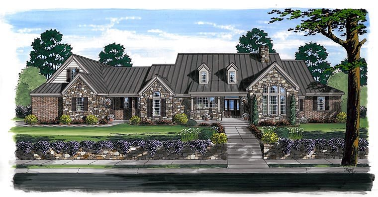 Craftsman, European, ModernFarmhouse, Ranch, House Plan 30507 with 3 Beds, 4 Baths, 3 Car Garage Elevation