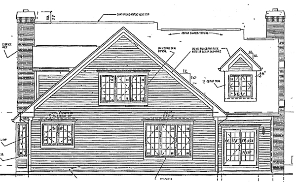 Cape Cod Contemporary Country Traditional Rear Elevation of Plan 32025
