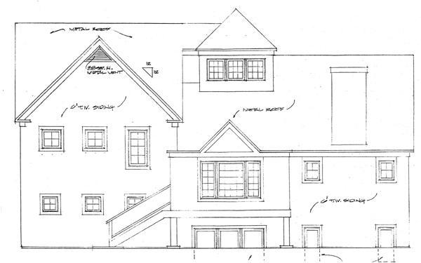 Bungalow Cape Cod Coastal Contemporary Cottage House Plan 32186 Rear Elevation