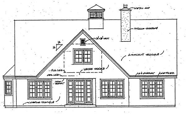Bungalow , Cape Cod , Coastal , Cottage , Rear Elevation of Plan 32341