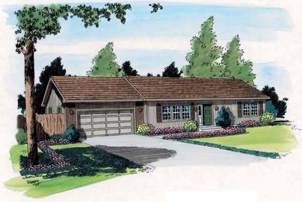 One-Story, Ranch, Traditional House Plan 34002 with 3 Beds, 1 Baths, 2 Car Garage Elevation