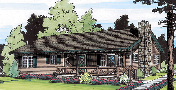 Country, Ranch House Plan 34003 with 3 Beds, 2 Baths Elevation