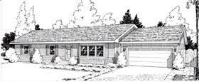 One-Story , Ranch House Plan 34004 with 3 Beds, 2 Baths, 2 Car Garage Elevation