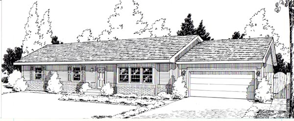 Ranch House Plan 34004 Elevation