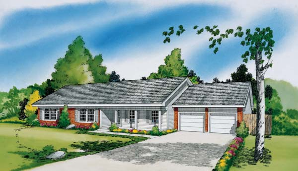 Ranch , Elevation of Plan 34011