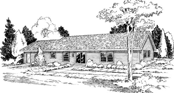 Ranch , Rear Elevation of Plan 34011