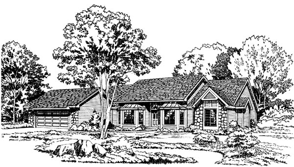 Contemporary Ranch Traditional House Plan 34013 Elevation