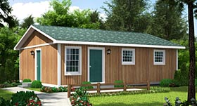 House Plan 34020 | Cabin Ranch Style Plan with 768 Sq Ft, 3 Bedrooms, 1 Bathrooms Elevation