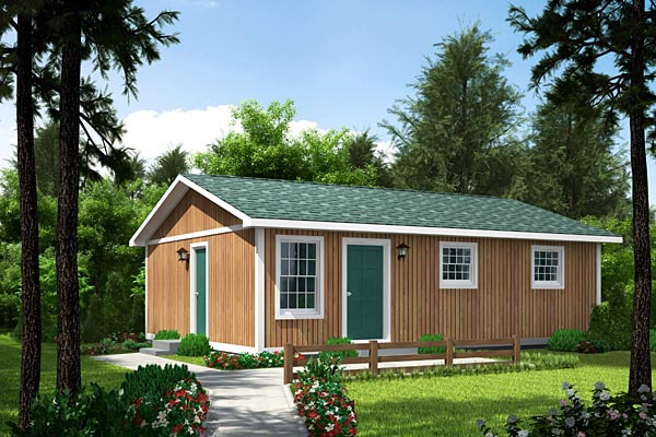 Cabin , Ranch , Elevation of Plan 34020