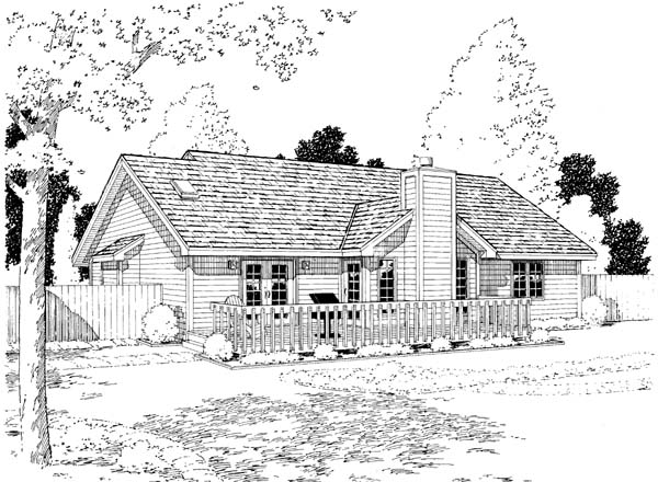 Country European Ranch Traditional House Plan 34029 Rear Elevation