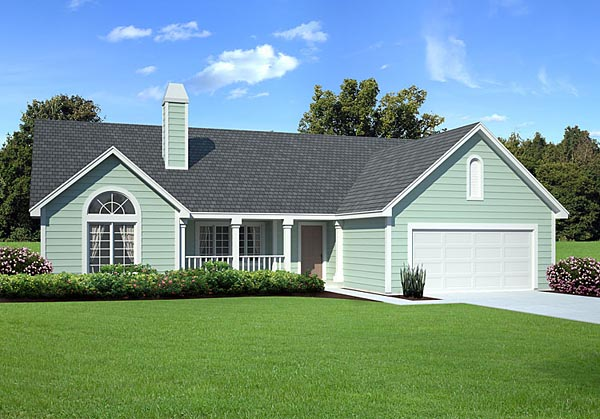 Country, Ranch, Traditional, House Plan 34031 with 3 Beds, 3 Baths, 2 Car Garage Elevation