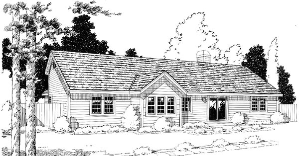 Country Ranch Traditional House Plan 34031 Rear Elevation