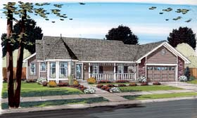 Country , Ranch , Traditional House Plan 34043 with 3 Beds, 2 Baths, 2 Car Garage Elevation