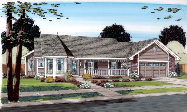 Country Ranch Traditional House Plan 34043 Elevation