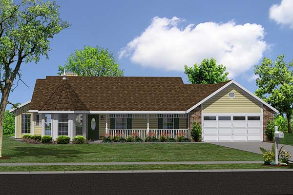 Plan 34043 Country Style House Plan With  Bath