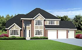 European , Traditional House Plan 34047 with 3 Beds, 3 Baths, 3 Car Garage Elevation