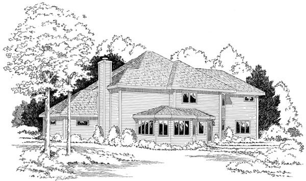 European , Traditional House Plan 34047 with 3 Beds, 3 Baths, 3 Car Garage Rear Elevation