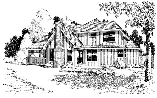 Bungalow Country Traditional House Plan 34049 Rear Elevation